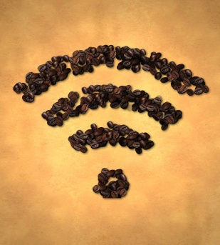 Wireless Icon Coffee Bean on Old Paper